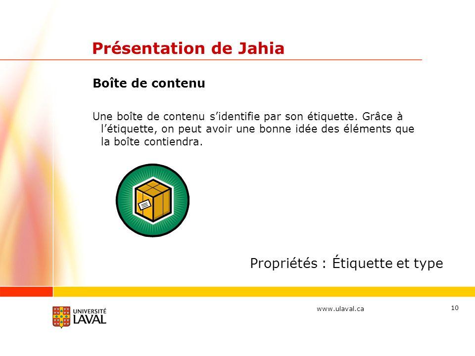 Présentation de Jahia Propriétés : Étiquette et type Boîte de contenu