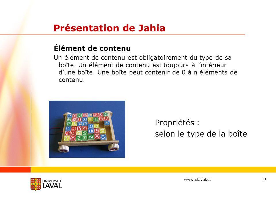 Présentation de Jahia Propriétés : selon le type de la boîte