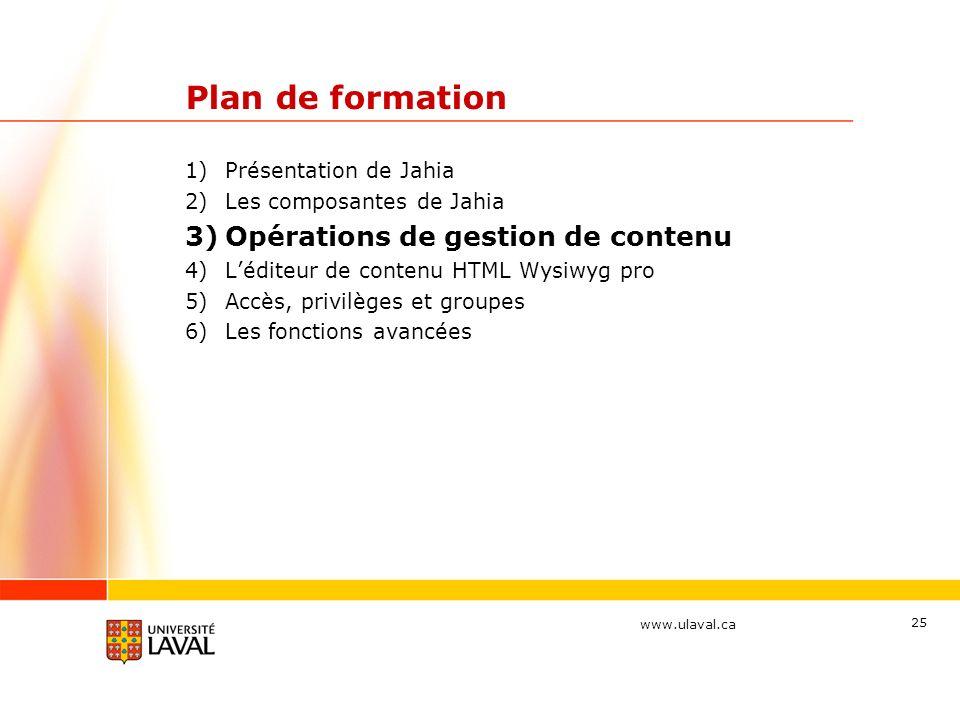 Plan de formation Opérations de gestion de contenu