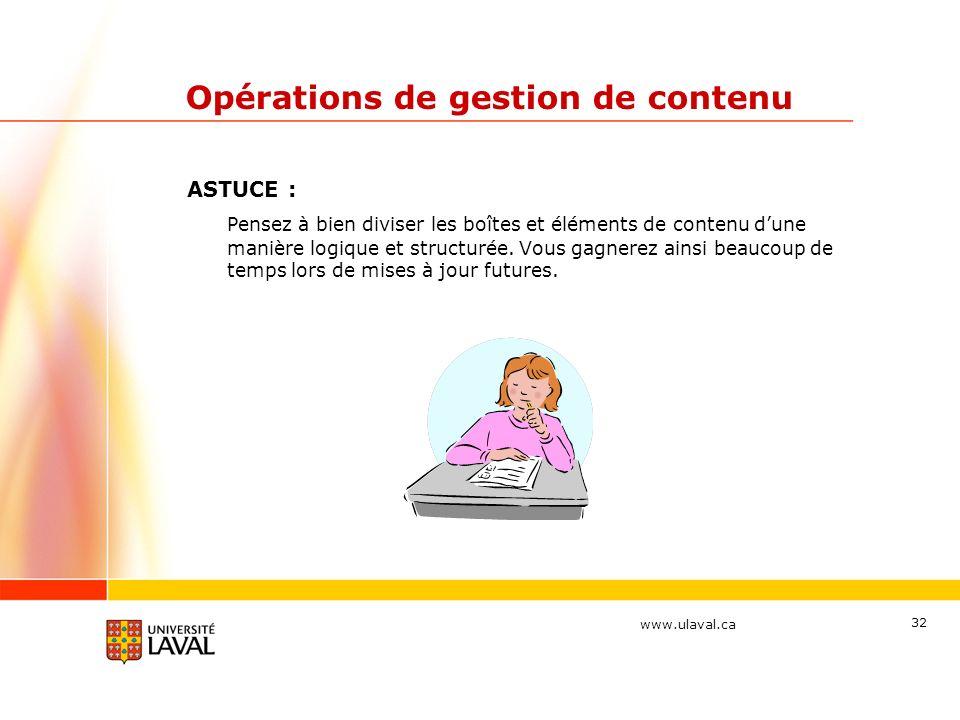 Opérations de gestion de contenu