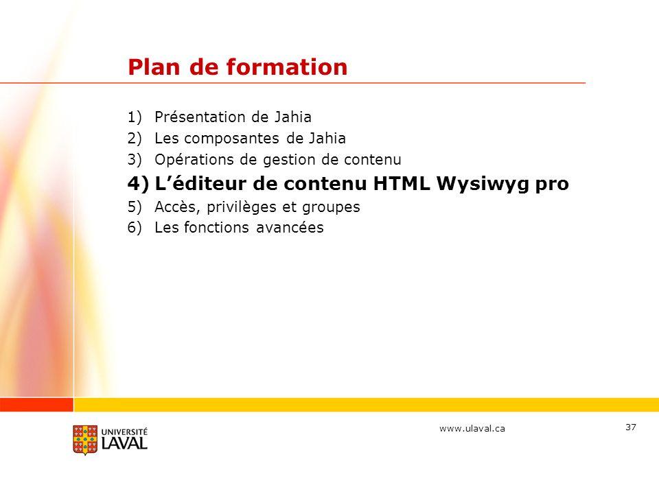 Plan de formation L'éditeur de contenu HTML Wysiwyg pro