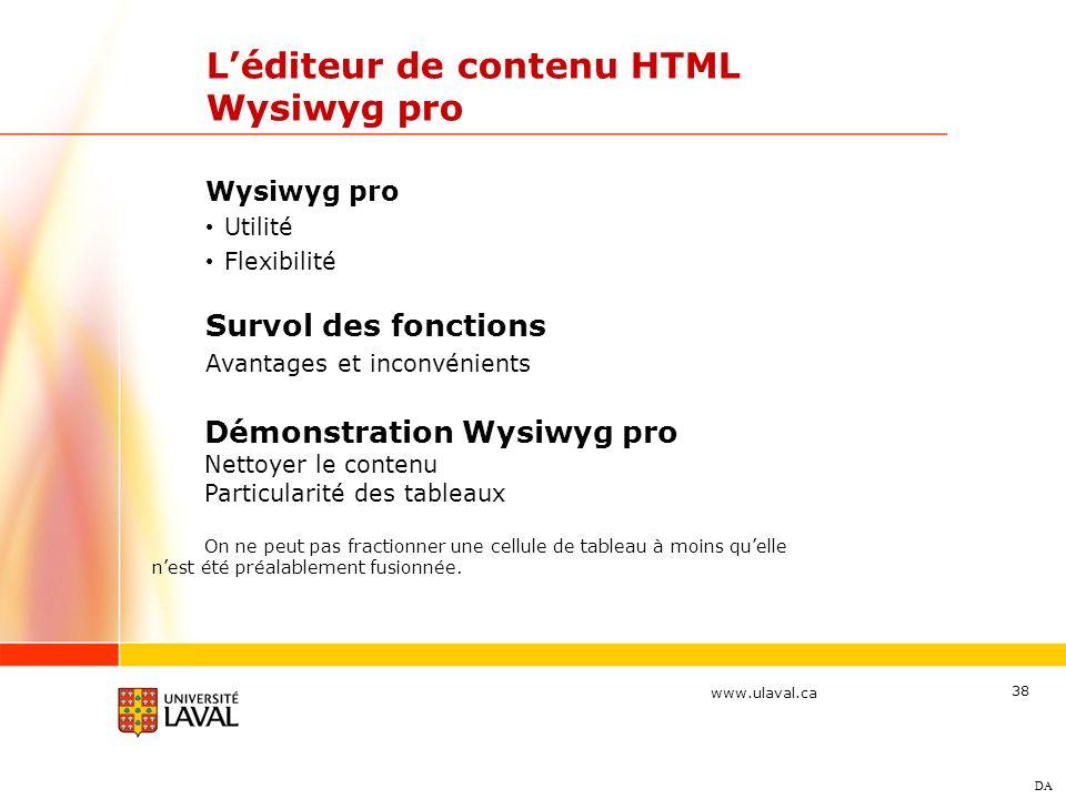 L'éditeur de contenu HTML Wysiwyg pro