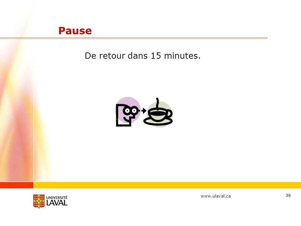 Pause De retour dans 15 minutes.