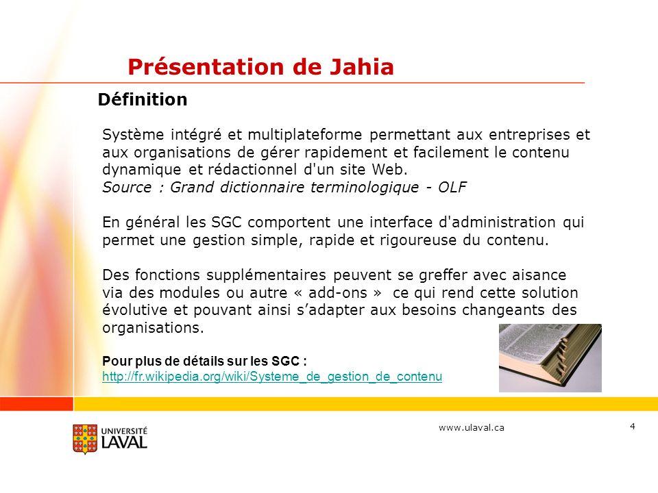 Présentation de Jahia Définition
