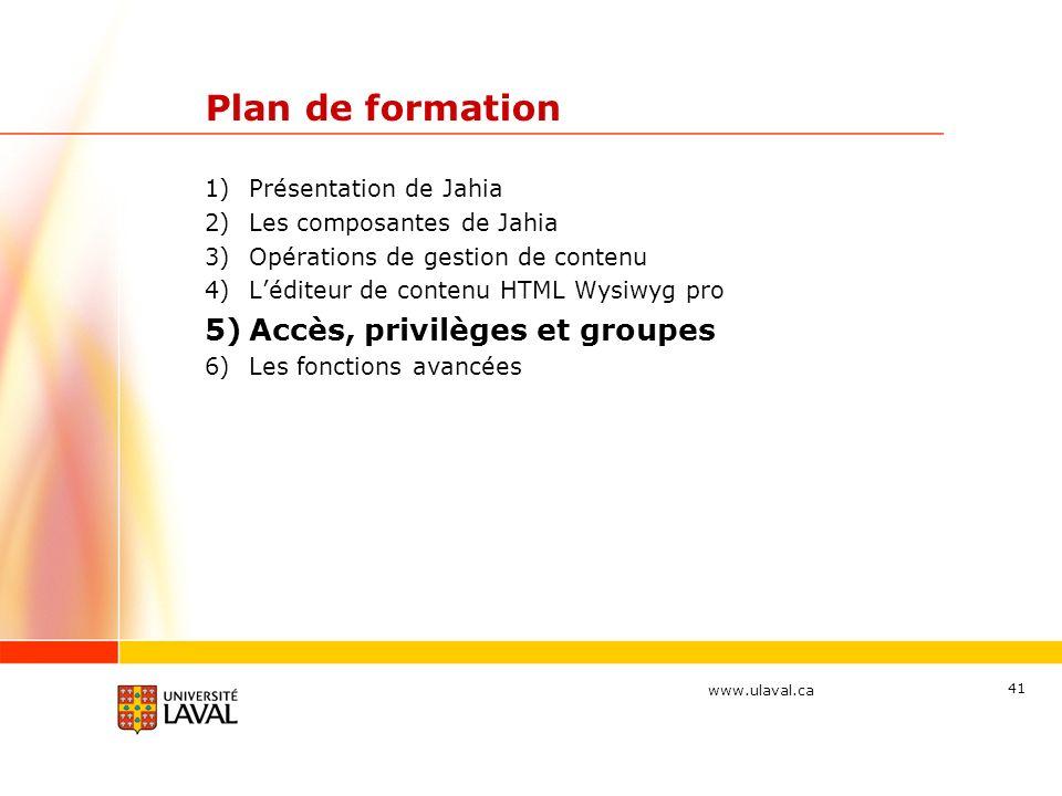Plan de formation Accès, privilèges et groupes Présentation de Jahia