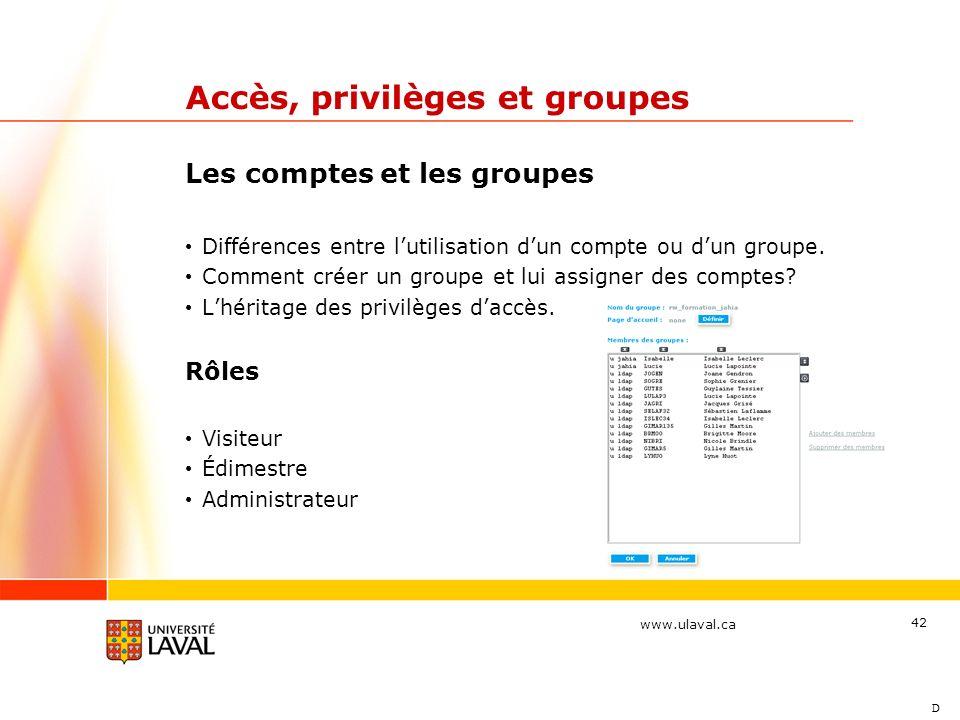 Accès, privilèges et groupes