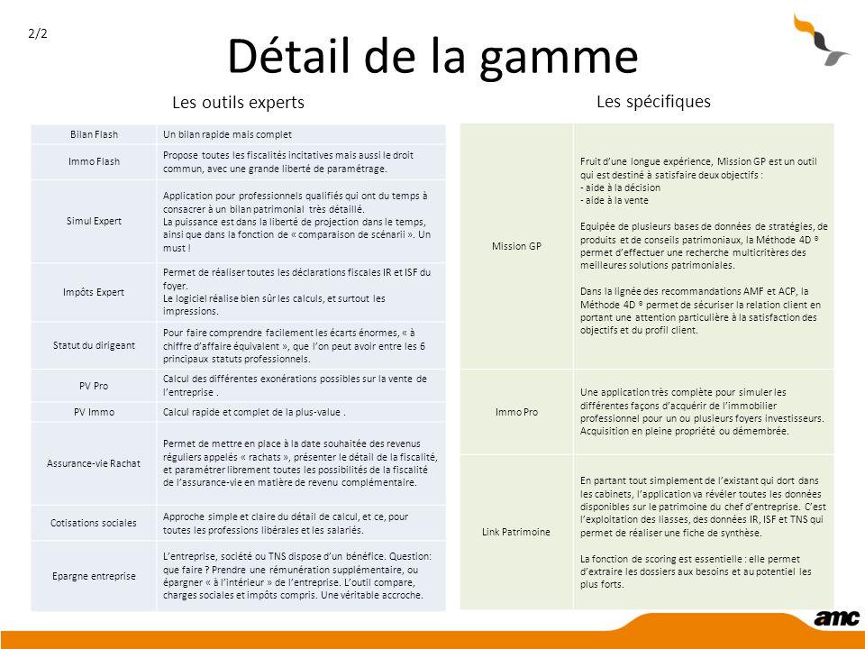 Détail de la gamme Les outils experts Les spécifiques 2/2 Bilan Flash
