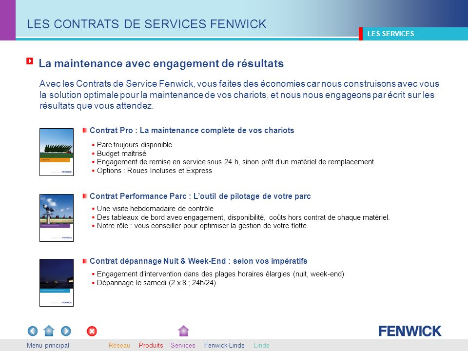 LES CONTRATS DE SERVICES FENWICK