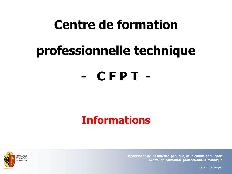Centre de formation professionnelle technique - C F P T -