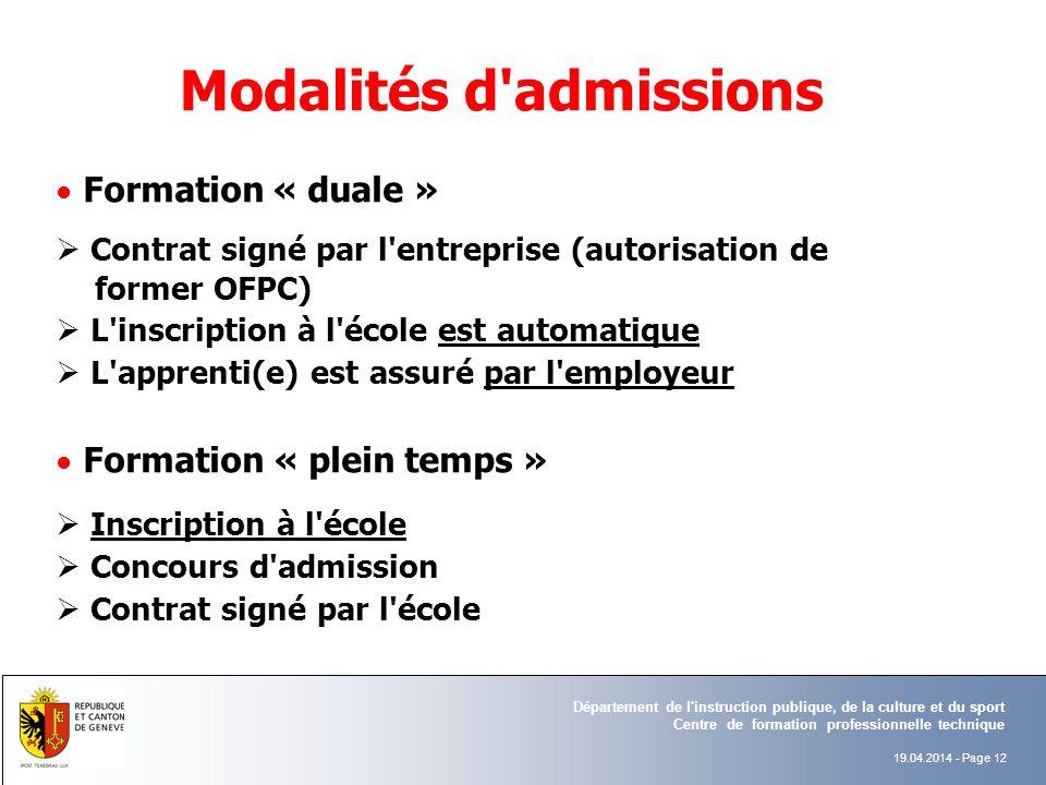 Modalités d admissions