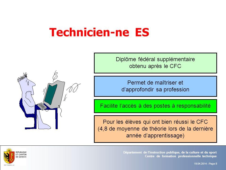 Technicien-ne ES Diplôme fédéral supplémentaire obtenu après le CFC