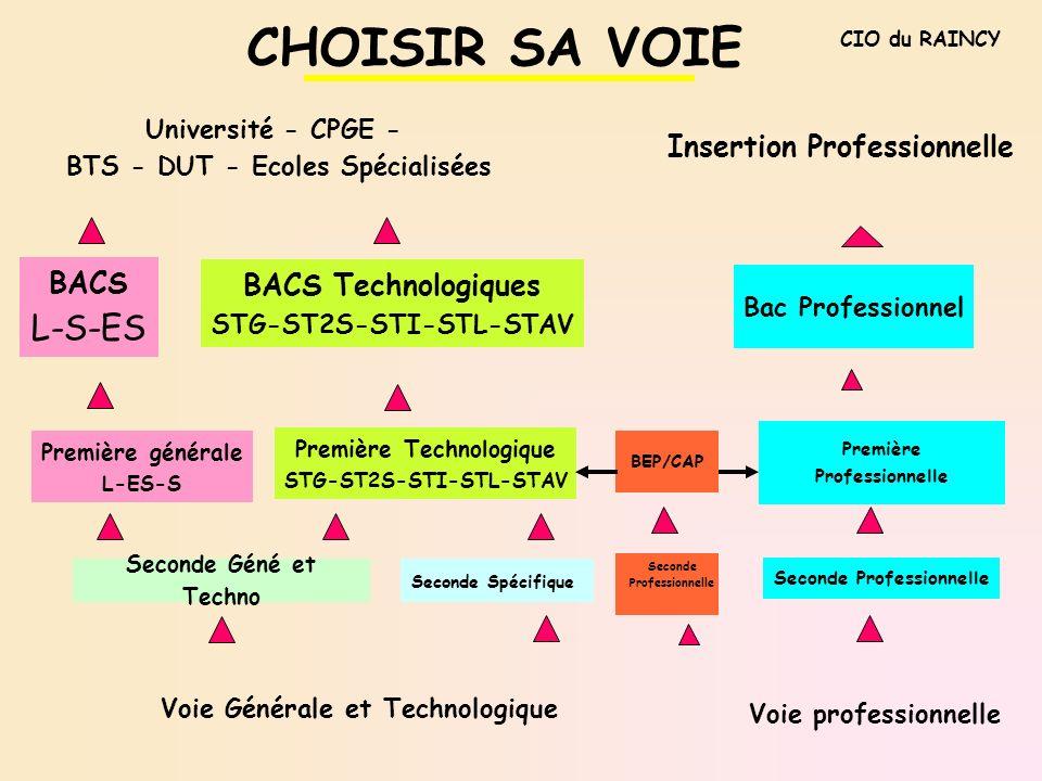 CHOISIR SA VOIE L-S-ES Insertion Professionnelle BACS
