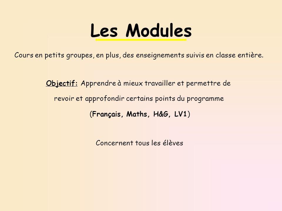 Les Modules Cours en petits groupes, en plus, des enseignements suivis en classe entière. Objectif: Apprendre à mieux travailler et permettre de.