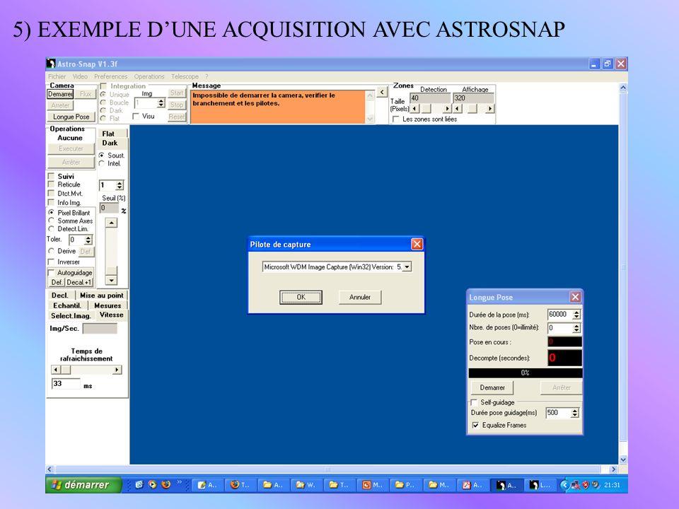 5) EXEMPLE D'UNE ACQUISITION AVEC ASTROSNAP