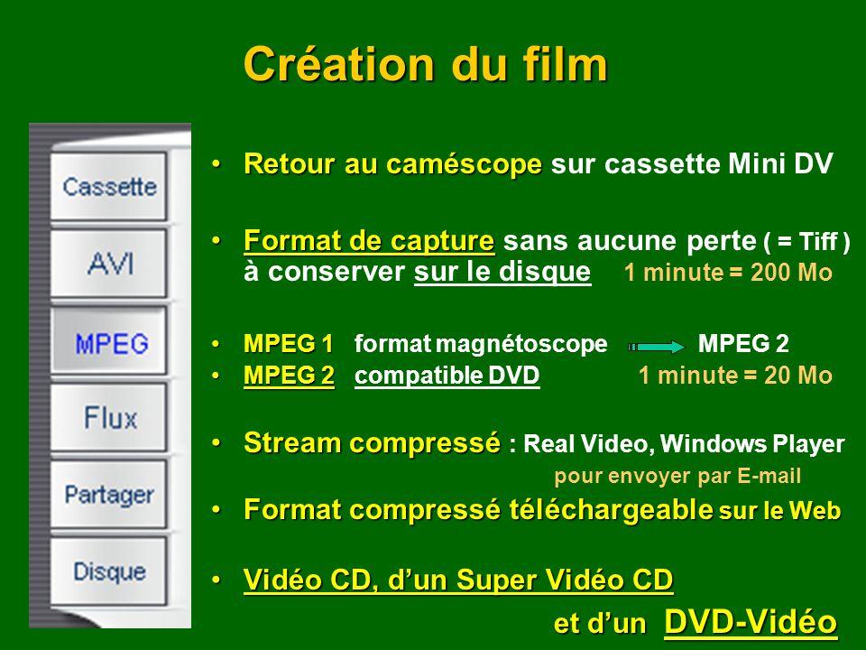 Création du film Retour au caméscope sur cassette Mini DV