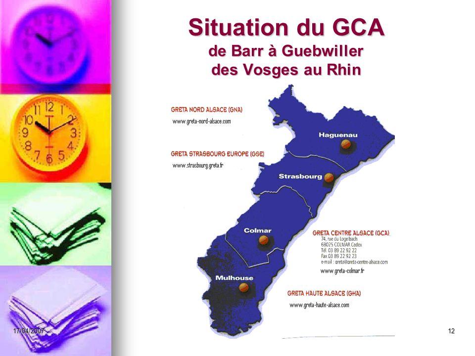 Situation du GCA de Barr à Guebwiller des Vosges au Rhin