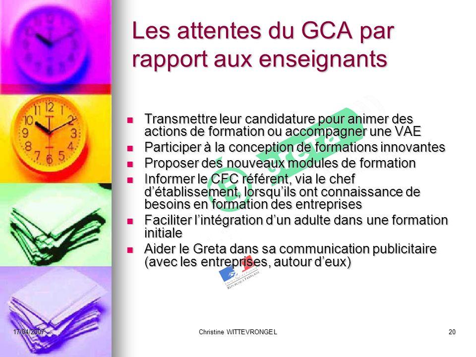 Les attentes du GCA par rapport aux enseignants