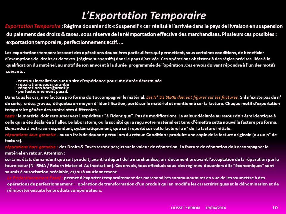 L'Exportation Temporaire