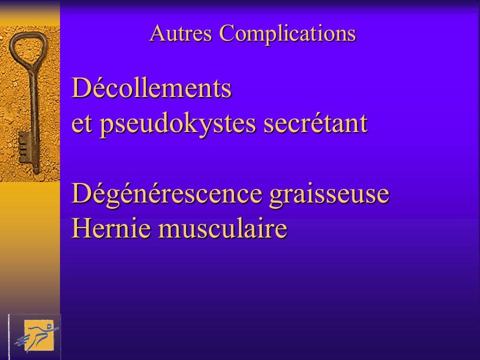 Autres Complications Décollements et pseudokystes secrétant Dégénérescence graisseuse Hernie musculaire.