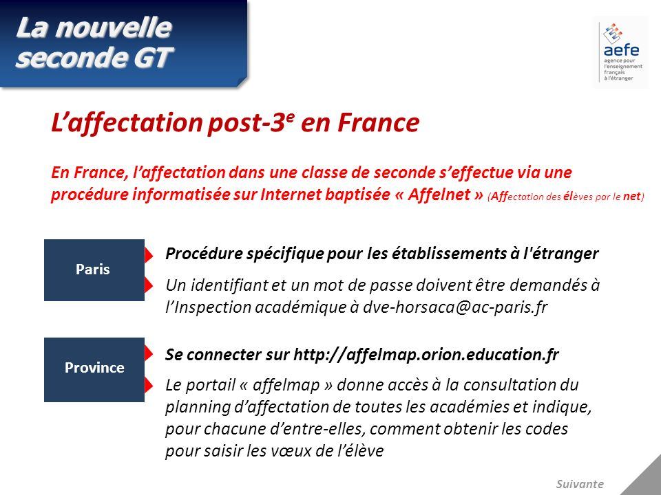L'affectation post-3e en France