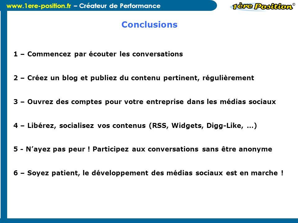 Conclusions 1 – Commencez par écouter les conversations
