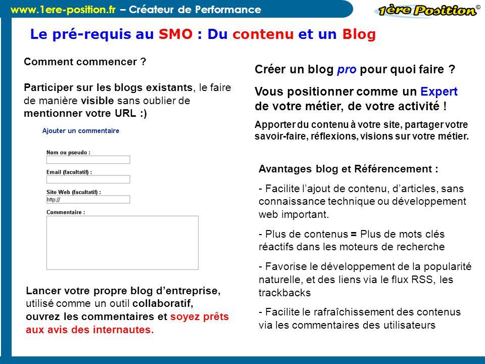 Le pré-requis au SMO : Du contenu et un Blog