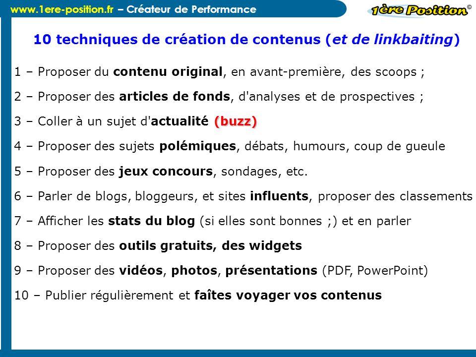 10 techniques de création de contenus (et de linkbaiting)