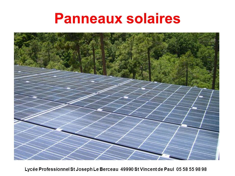 Panneaux solaires Lycée Professionnel St Joseph Le Berceau 49990 St Vincent de Paul 05 58 55 98 98.