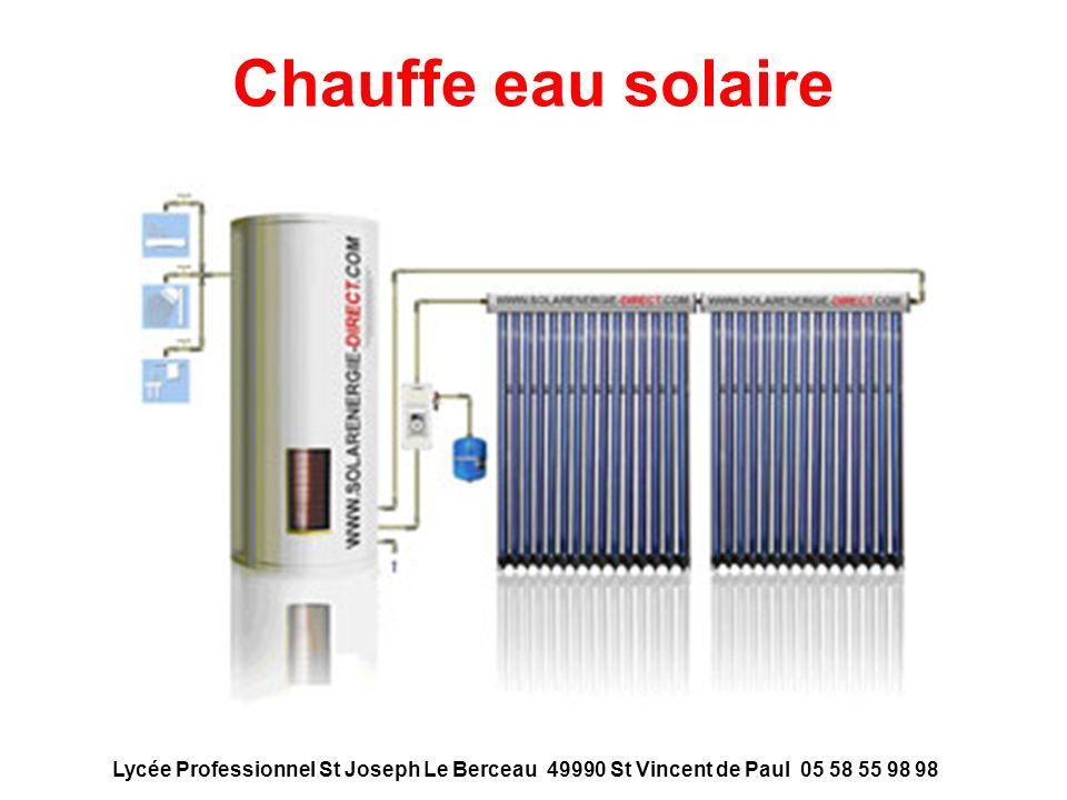 Chauffe eau solaire Lycée Professionnel St Joseph Le Berceau 49990 St Vincent de Paul 05 58 55 98 98.