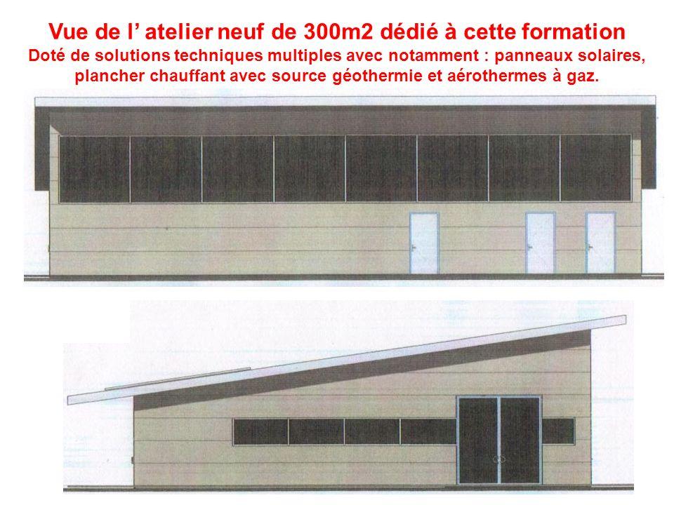 Vue de l' atelier neuf de 300m2 dédié à cette formation