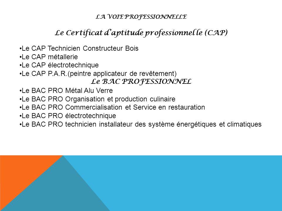 Le Certificat d'aptitude professionnel le (CAP) Le BAC PROFESSIONNEL