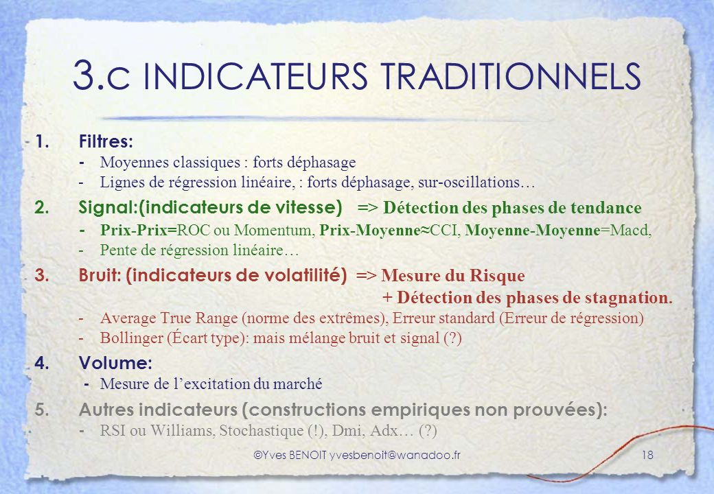 3.c INDICATEURS TRADITIONNELS