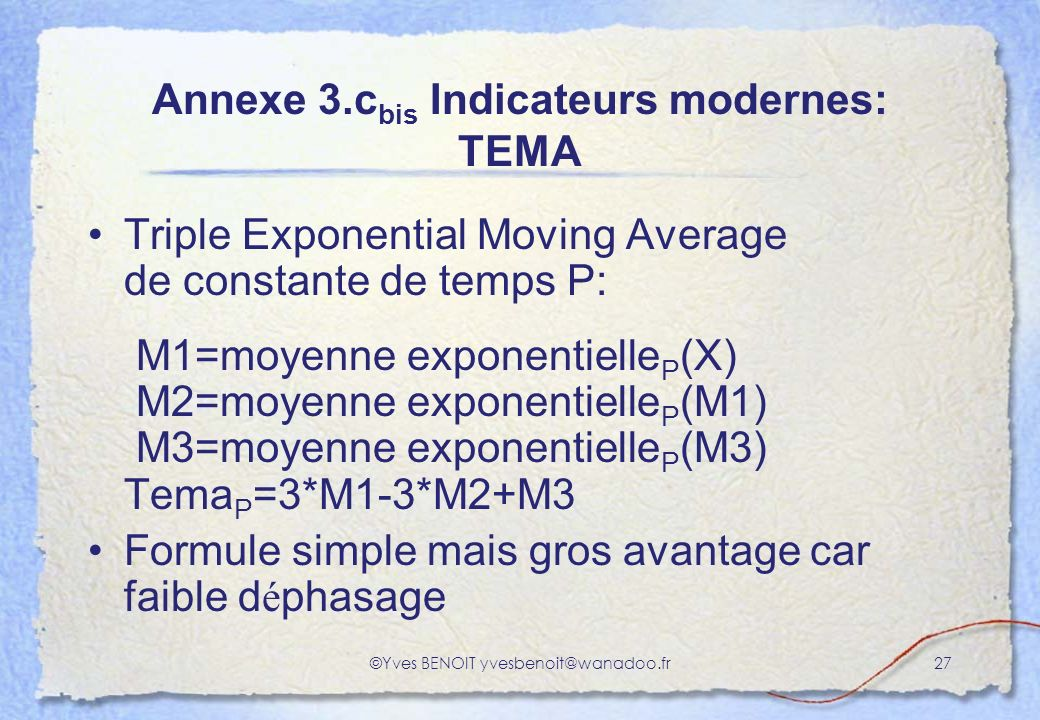 Annexe 3.cbis Indicateurs modernes: TEMA