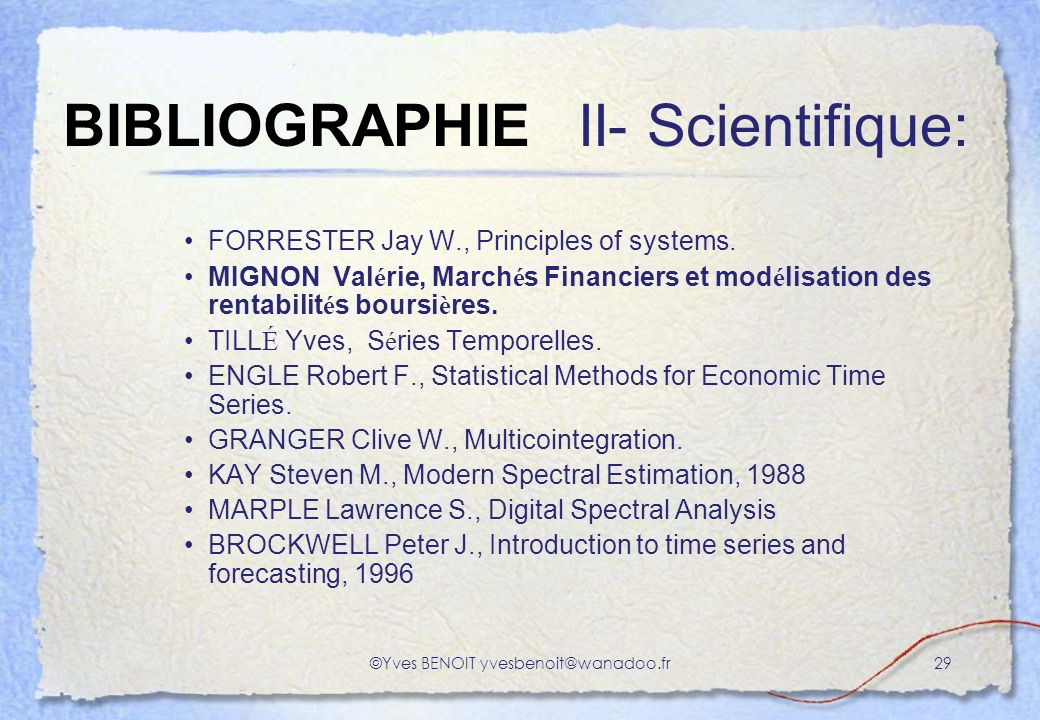 BIBLIOGRAPHIE II- Scientifique: