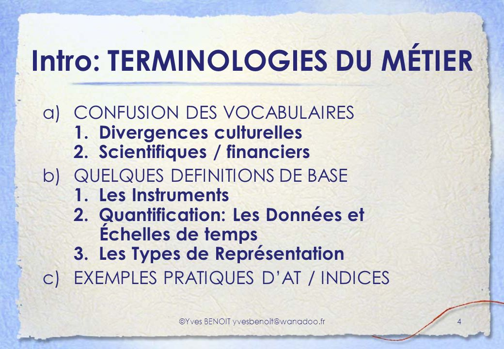 Intro: TERMINOLOGIES DU MÉTIER