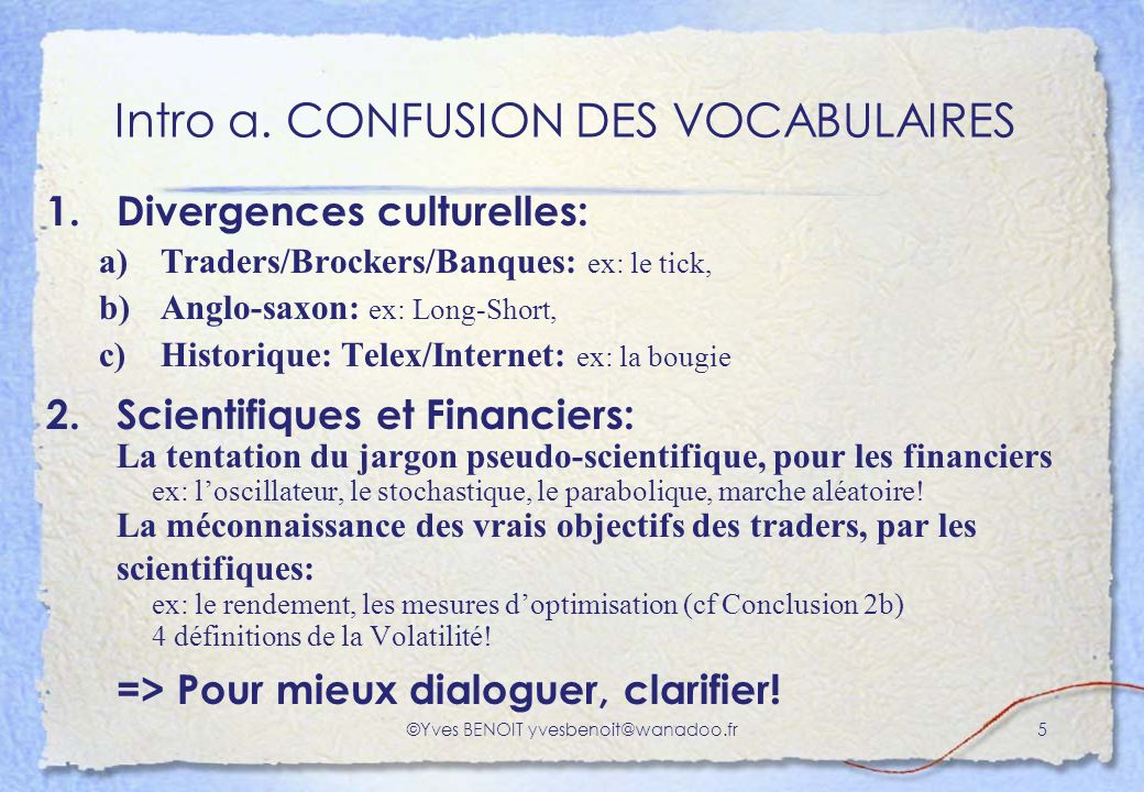 Intro a. CONFUSION DES VOCABULAIRES