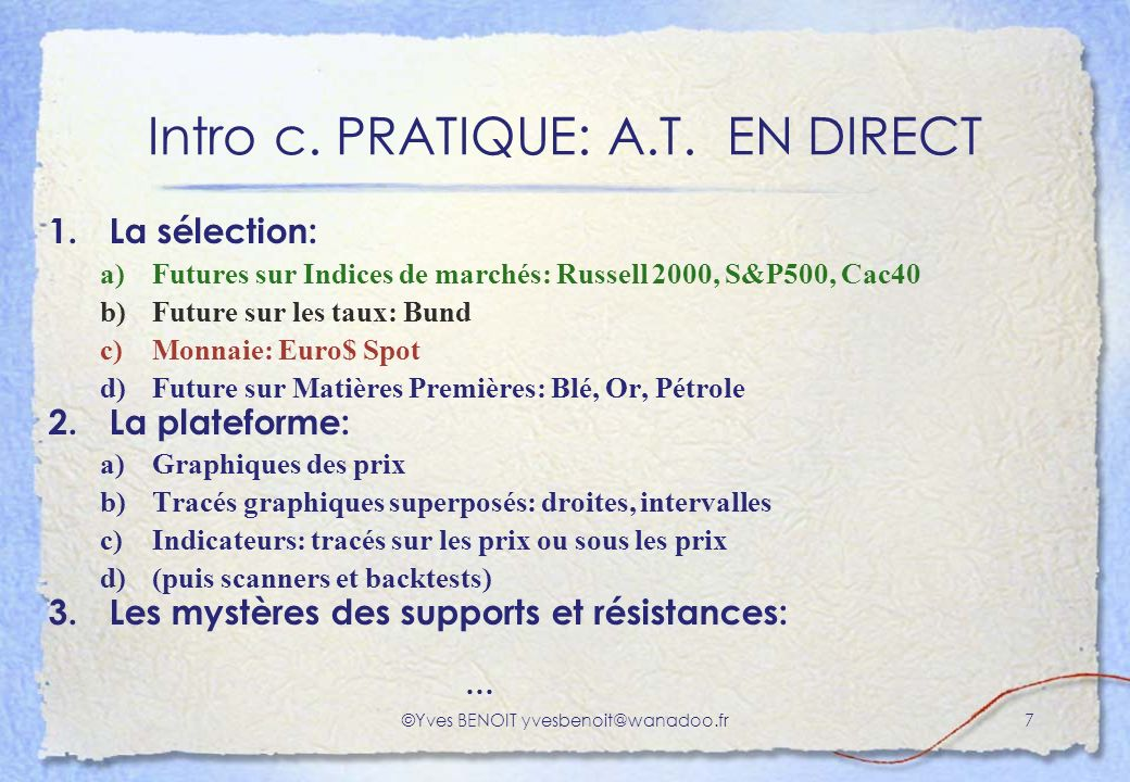 Intro c. PRATIQUE: A.T. EN DIRECT