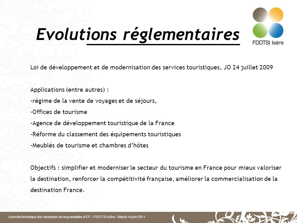 Evolutions réglementaires