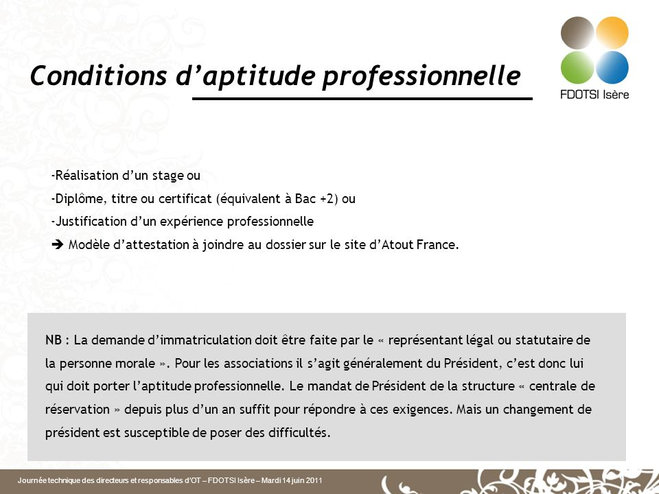 Conditions d'aptitude professionnelle