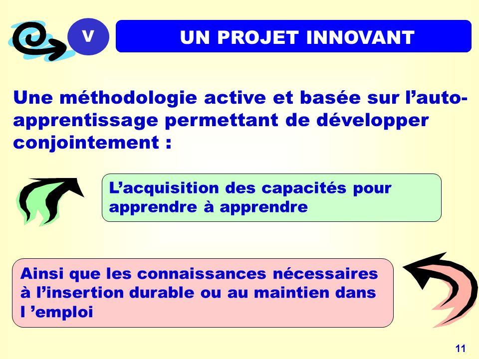 V UN PROJET INNOVANT. Une méthodologie active et basée sur l'auto-apprentissage permettant de développer conjointement :