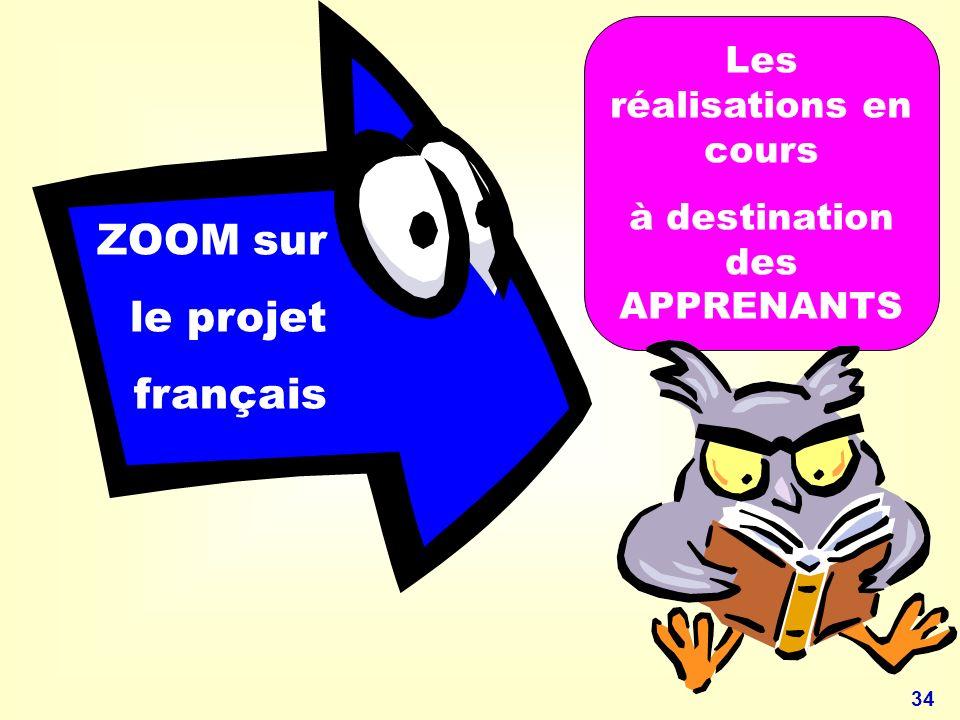 ZOOM sur le projet français Les réalisations en cours