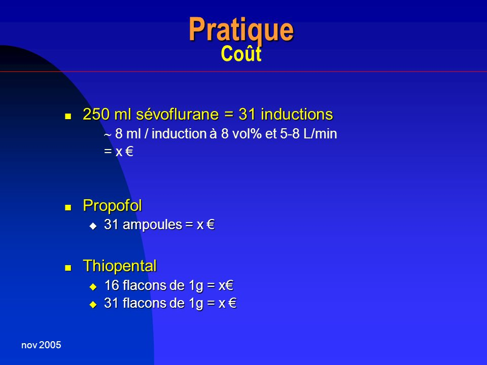 Pratique Coût 250 ml sévoflurane = 31 inductions Propofol Thiopental