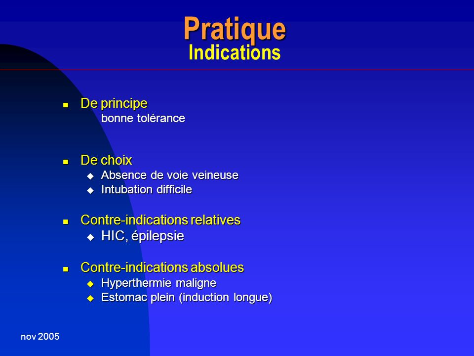 Pratique Indications De principe De choix Contre-indications relatives