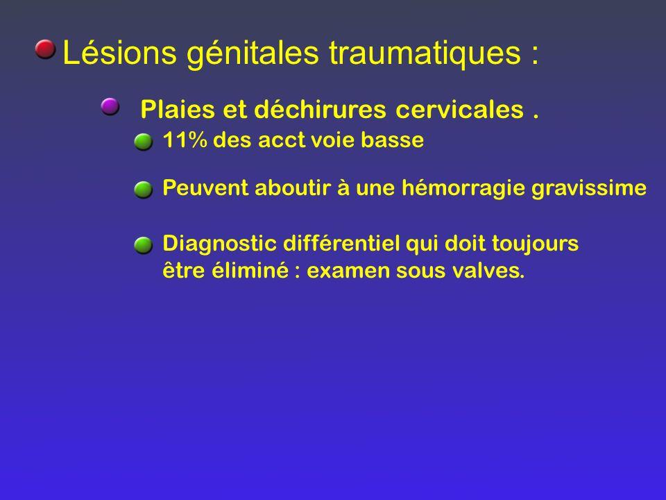 Lésions génitales traumatiques :