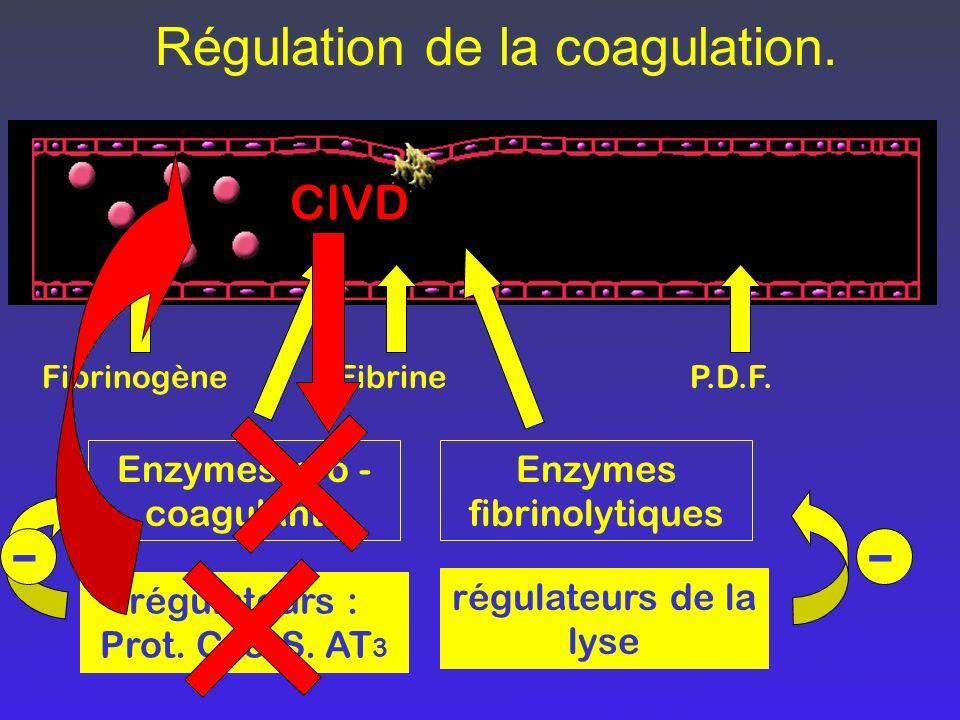 - - Régulation de la coagulation. CIVD Enzymes pro -coagulants