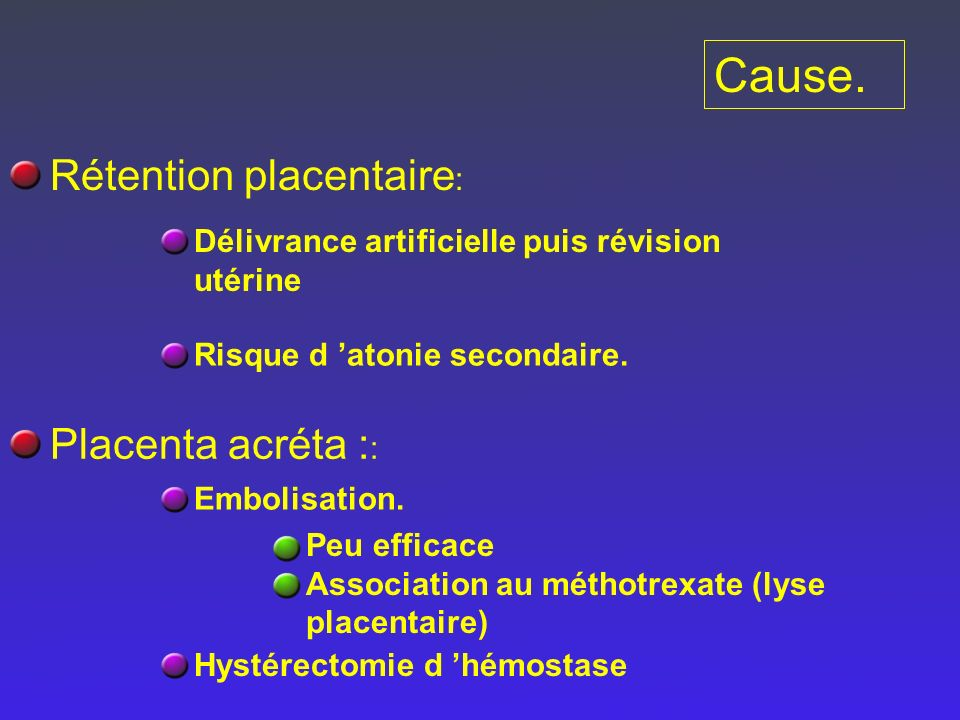 Cause. Rétention placentaire: Placenta acréta ::