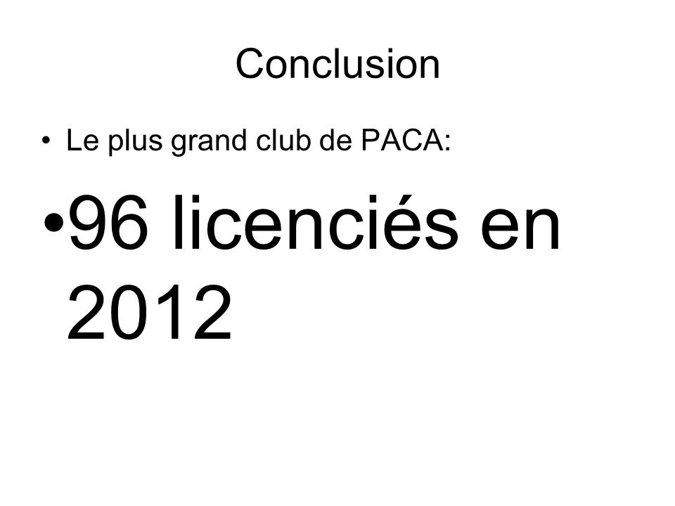 Conclusion Le plus grand club de PACA: 96 licenciés en 2012