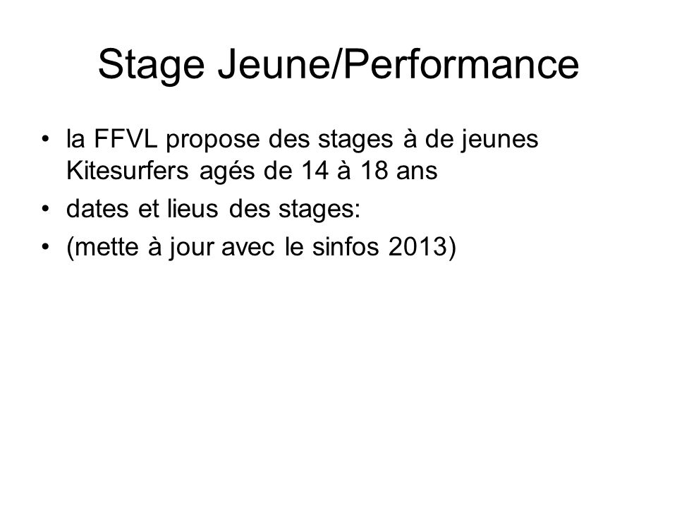 Stage Jeune/Performance