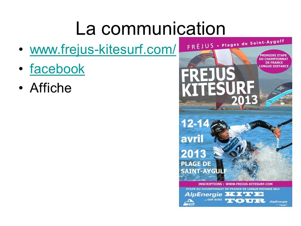 La communication www.frejus-kitesurf.com/ facebook Affiche