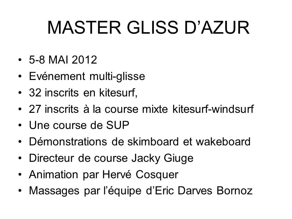 MASTER GLISS D'AZUR 5-8 MAI 2012 Evénement multi-glisse